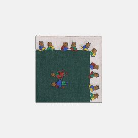 [드레익스] Drake's_Green and Ecru Teddy Bear Print Linen-Cotton Pocket Square