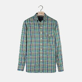 [드레익스] Drake's_ Flap-Pocket Madras Shirt, Navy/Brown/Green Check