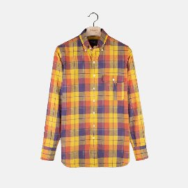 [드레익스] Drake's_ Orange and Yellow Check Cotton-Linen-Ramie Button-Down Shirt